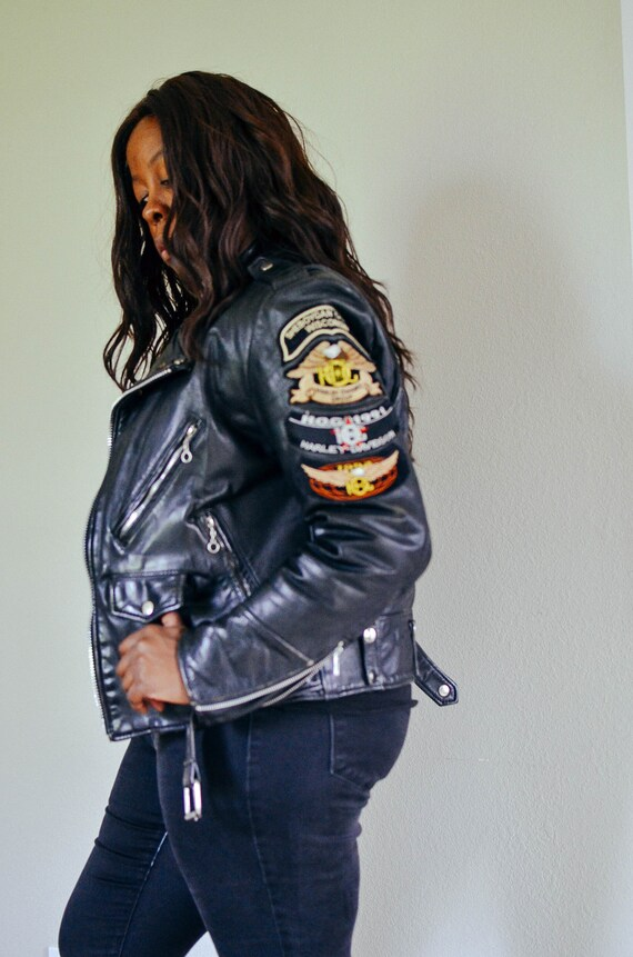 90s Black Leather Jacket / Vintage 90s MOTO Genuin