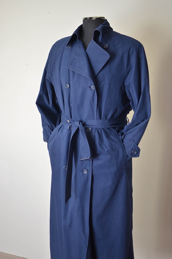London Fog Navy Blue Trench Coat/ womens over size