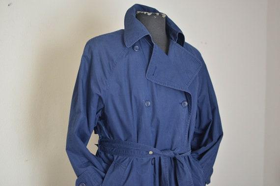 London Fog Navy Blue Trench Coat/ womens over siz… - image 2