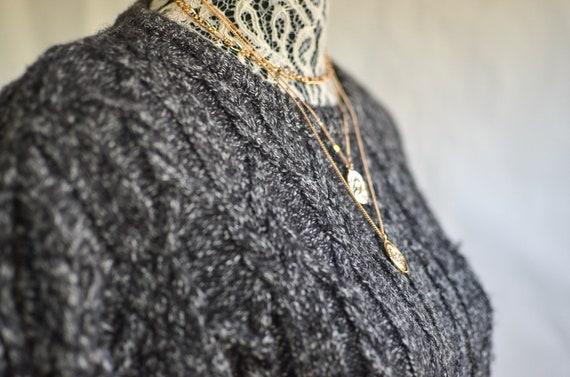 Charcoal knit Sweater/ crewneck sweater /Unisex Sw