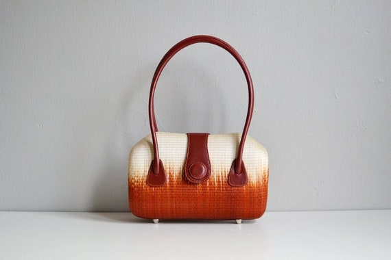 Vtg 60s 70s woven handbag // ombre hard case top h
