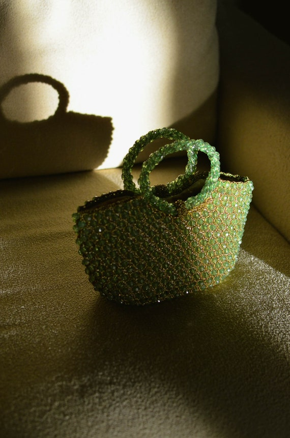 Vintage Lime Green Beaded Purse / Green Beaded Tot