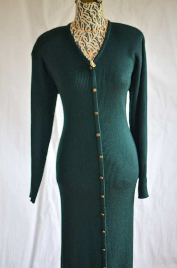 Forest Green Ribbed  Knit Dress /  button down swe