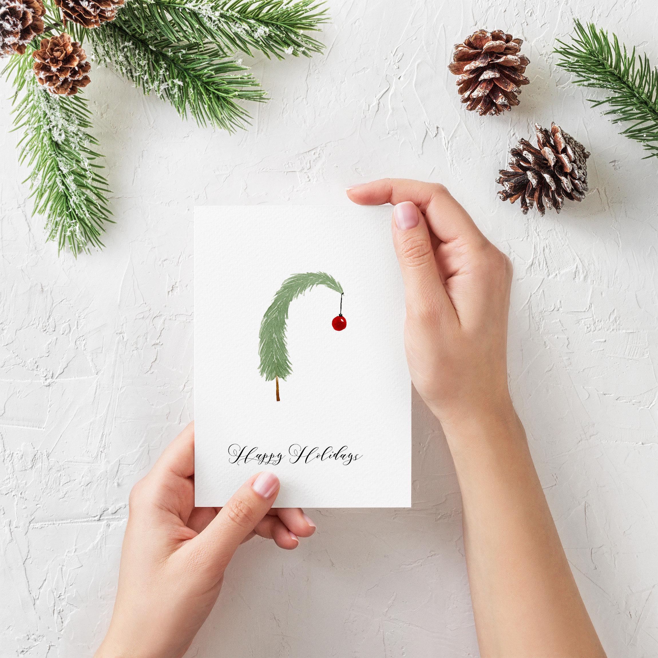 Handpainted Card Christmas Cards Handmade Christmas Tree   Etsy