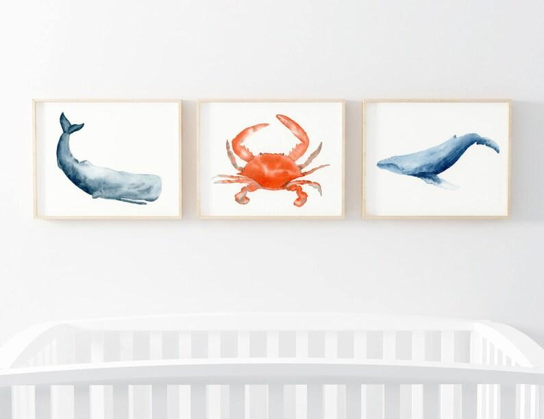 3a9933d3b425 Ocean print nursery decor Nautical nursery Baby shower Baby