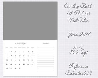 "Calendar 2018 template 8x11"" includes usa version  (13 pictures) refcalendar003"