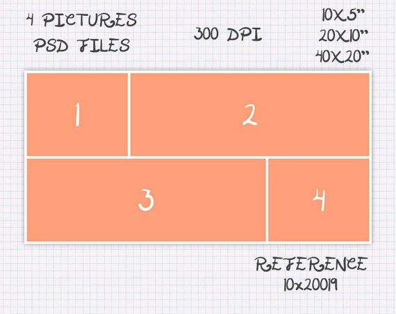 ref 7x5018 Storyboard Photo collage template 6x4 7x5 11x8 30x20 inches 10 pictures