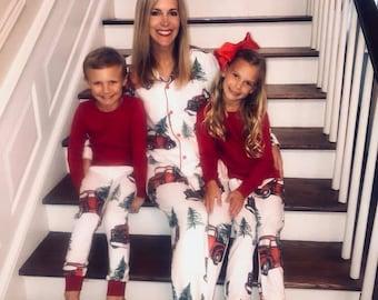 Family Christmas Pajamas 2019.Red Trucks Pajamas Etsy