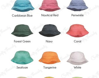 b08543aa74e 2019 - Monogrammed Pigment Dyed Bucket Hats - Bridal Gifts