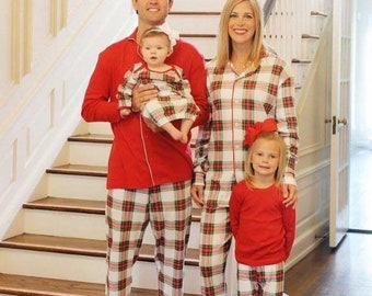 2018 christmas pajamas pre order now until september 1 for november delivery plaid pajamas red and white pajamas organic pajamas - Etsy Christmas Pajamas