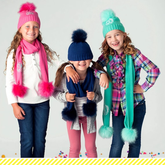 2019 Monogrammed Kid Scarfs Personalized Kids Knit Caps and  e14b94ccfbd0