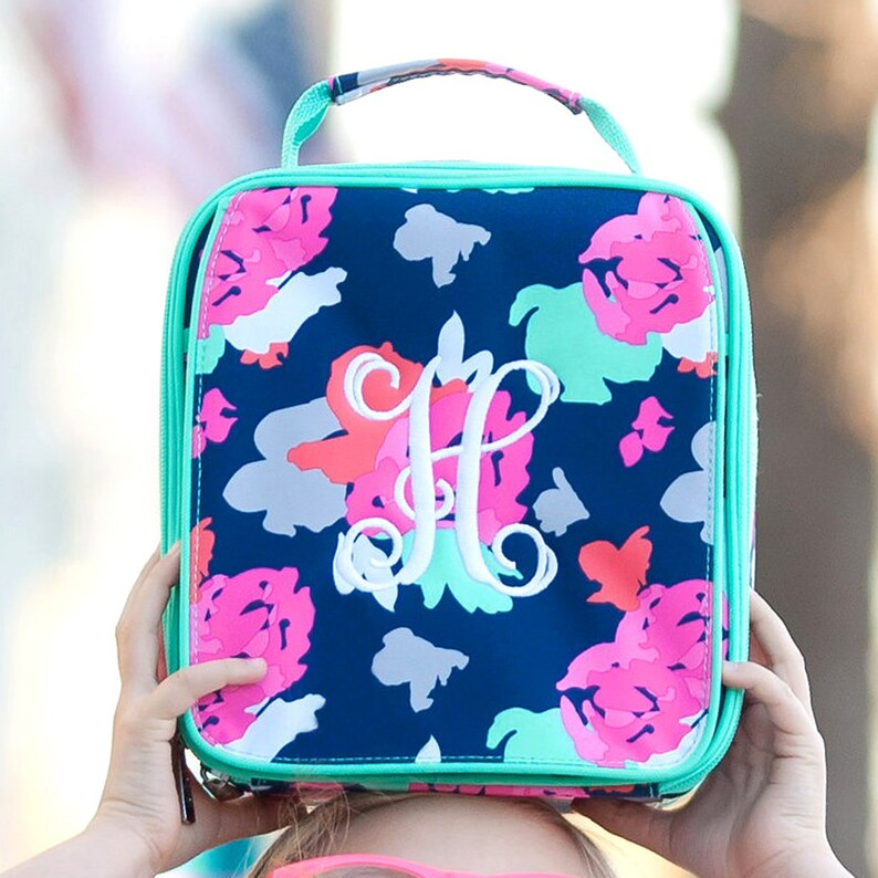 Navy and Hot Pink Backpack ID Case Tote Bag 2019 -Personalized Amelia Collection Monogrammed Lunch Box,Duffel Bag Monogrammed Backpack