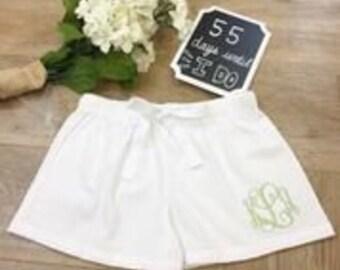 Personalized Bridesmaid White Seersucker Pajama Shorts,Monogrammed Seersucker,Monogrammed Bridesmaid Pajamas,Sorority Pajamas
