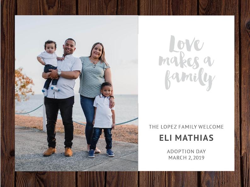 Adoption Announcement Adoption Photoshop Template Love Makes a Family Adoption Photo Card Adoption Digital File