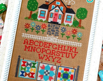FOUR CARDS COSY COTTAGES AND HOUSES DECORATED FOR CHRISTMAS CROSS STITCH CHART