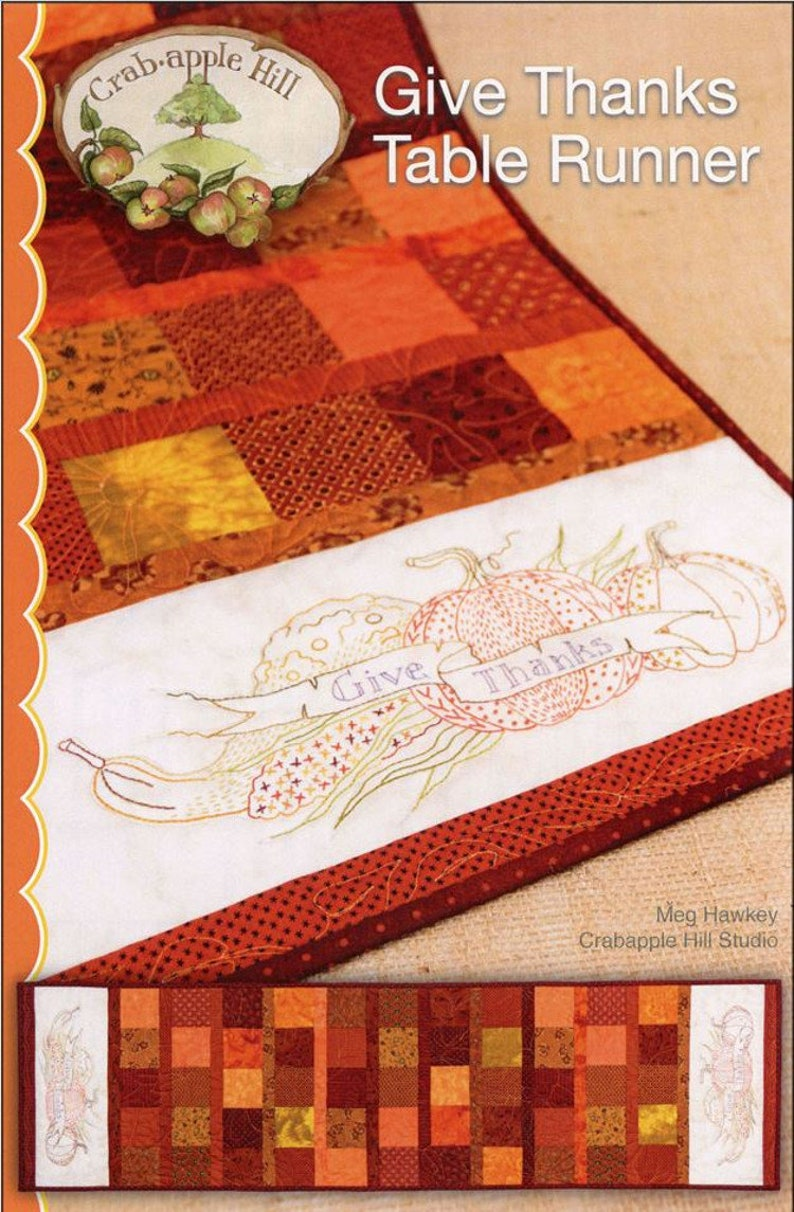 From Crabapple Hill Studio NEW HAPPY THANKSGIVING HAND EMBROIDERY PATTERN