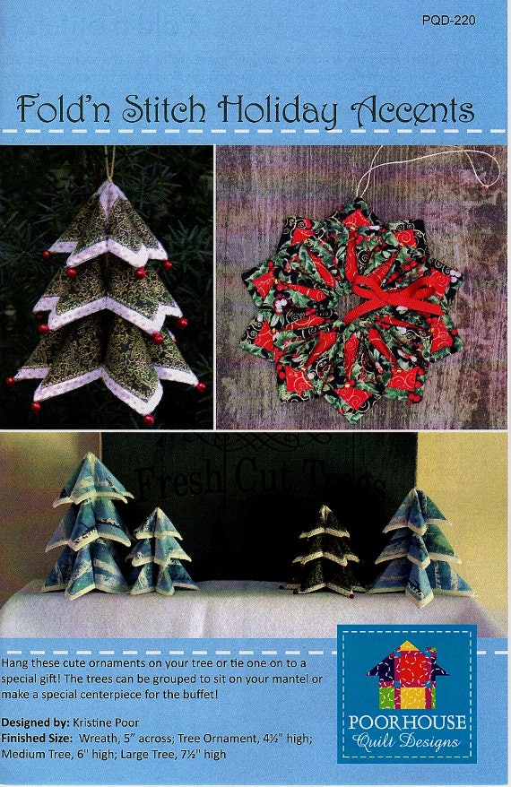 Brand New!  FOLD'N STITCH Holiday Accents    Christmas Ornaments and Accents   By PoorHouse Designs   pdq-220