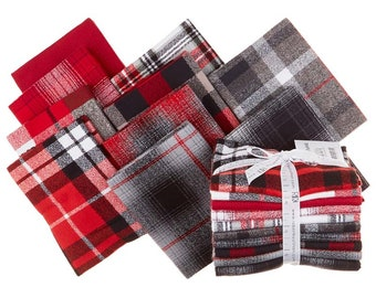 MAMMOTH FLANNEL  Red Colorstory  *Fat Quarter Bundle*   10 Pieces - 2.5 Yards     By: Kaufman Fabrics   FQ-1451-10