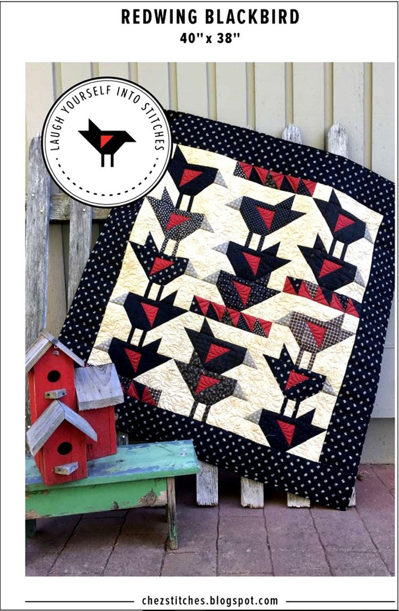 26b5a462bf6 REDWING BLACKBIRD A Scrappy Quilt Pattern Fat Quarter & | Etsy