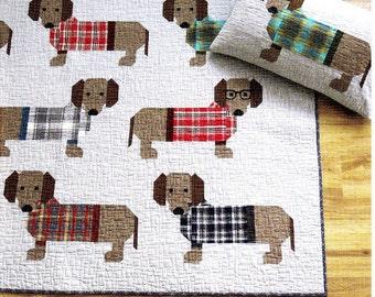 Dogs In Sweaters *Pieced Quilt & Pillow Pattern*   By Elizabeth Hartman