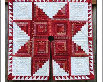 LOG CABIN STAR Quilted Christmas Tree Skirt  By: Another Bloomin' Workshop Pattern No. 010