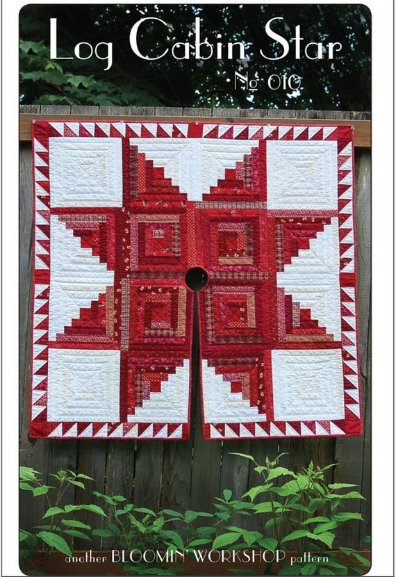 Log Cabin Christmas Tree Quilt.Log Cabin Star Quilted Christmas Tree Skirt Another Bloomin Workshop Pattern No 010