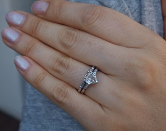 0486744d9 Ring Diamond 1 ct. Heart Shaped Wedding Set Platinum Mid Century Engagement  GIA Cert