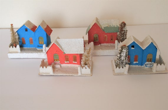 Christmas Houses Village.Putz Christmas Houses Village Mica Tree Ornaments Old Vintage Japan Excellent Condition