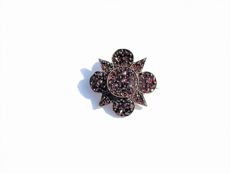 Antique Garnet Brooch Pin Star Bohemian Czech 1800/'s Faceted Rose Cut Stones