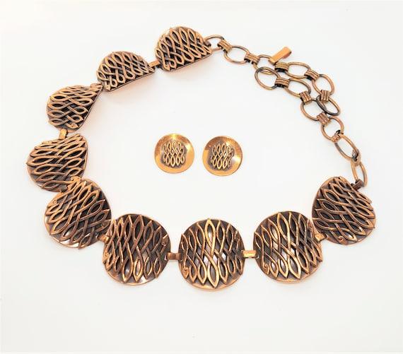 Copper Belt Earrings Set Mattise Renoir Style Clip