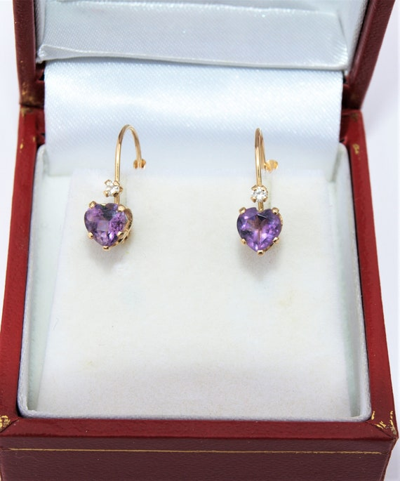 Amethyst Diamond Earrings 14k Heart Shape Dainty D