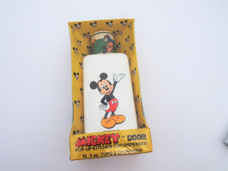 Mickey Mouse Dixie Cup Dispenser Never Opened NIB 1986 Kitchen Cup Dispenser