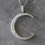RESERVED - Layaway 3rd & Final Payment - Art Deco Diamond Crescent Moon Pendant in 14k White Gold - DK332A