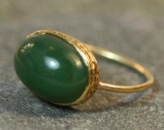 JL1194 Art Deco Nephrite Jade Ring in 14k Yellow Gold