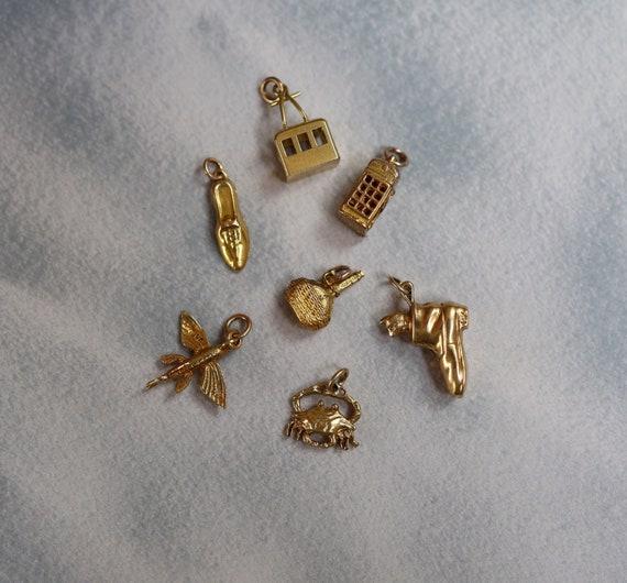 Gold Vintage Charms / Victorian Charms / Hallmarke