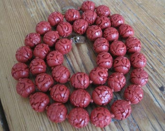 Antique Chinese Hand-Carved Cinnabar Beads 15 MM Red Lacquer Red Bead Necklace Chinese Jewelry - JL1036