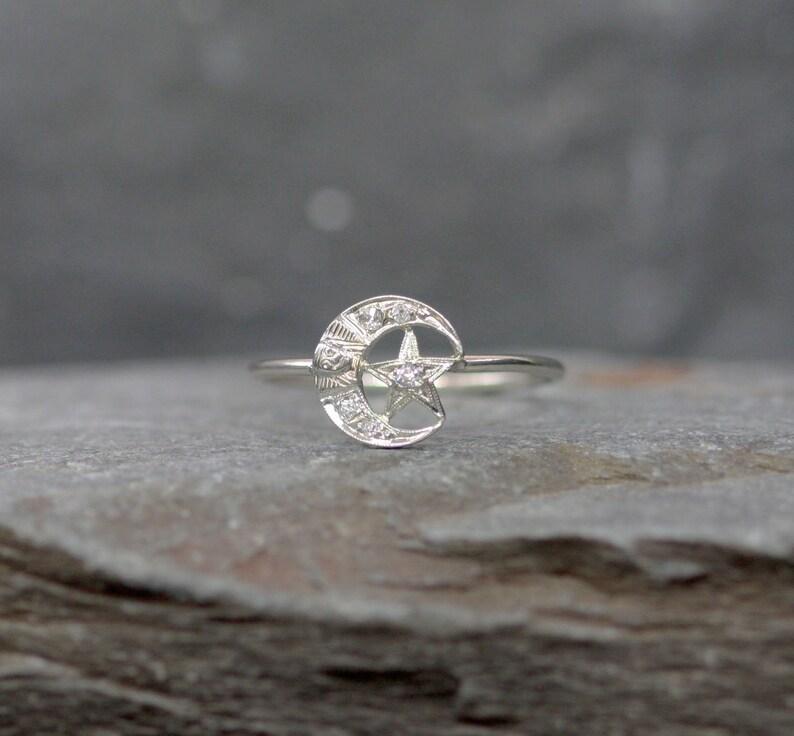 Art Deco Diamond Crescent Moon and Star Conversion Ring - JL1161