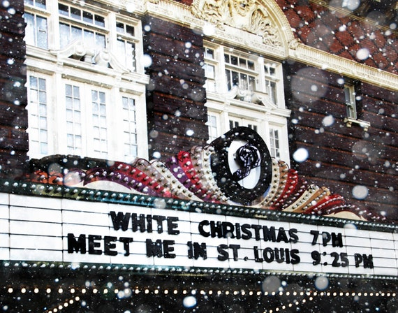 White Christmas Movie Theatre Sign Retro Movie Theater Sign Photography Art Print 16 x 20 Canvas Wrap Movie Marquee Vintage Movie Sign