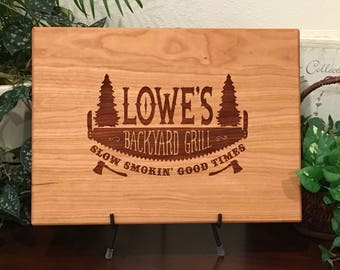 Personalized Cutting Board, Backyard Grill, BBQ Cutting Board, Gift for Dad, Father's Day, Barbeque, Pine Trees, Axe, Slow Smokin, Good Time