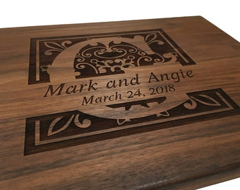 Personalized Monogram Cutting Board Wedding Gift Engagement Anniversary Engraved Wooden Chopping Block Kitchen Decor New Home Gift Realto