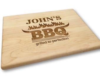 Custom BBQ Cutting Board Dad Gift Father's Day Gift Backyard Grilled to Perfection Man Gift Bull Horns Flames Personalized Gift