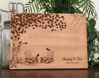 Personalized Cutting Board, Adirondack Chairs, Custom Cheese Board,  Chopping Block, Wedding Gift