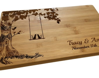 Personalized Cutting Board, Cats on Swing, Custom Cheese Board, Wedding Gift, Anniversary, Bridal Shower, Cat Lover Gift , New Home