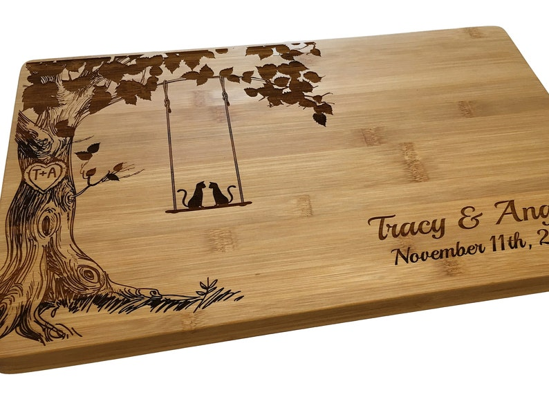 Personalized Cutting Board Cats on Swing Custom Cheese image 0