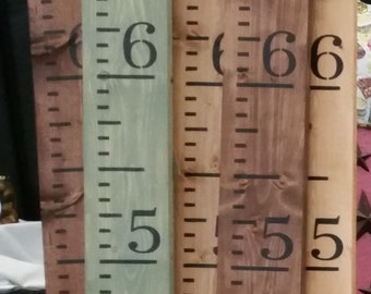 Handmade Pine Wood Growth Chart or Rulers - Custom Colors - Painted - Measures to 7'