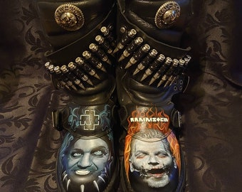 Hand Painted Unofficial Rammstein New Rock Boots