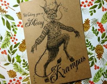 Wishing You a Merry Krampus - Christmas Pun Card - Handmade