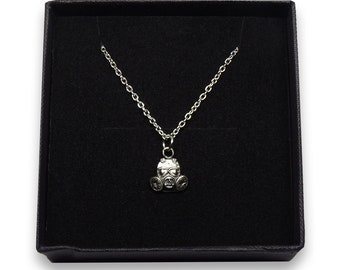 Real Silver Gas Mask Charm Necklace - Handmade