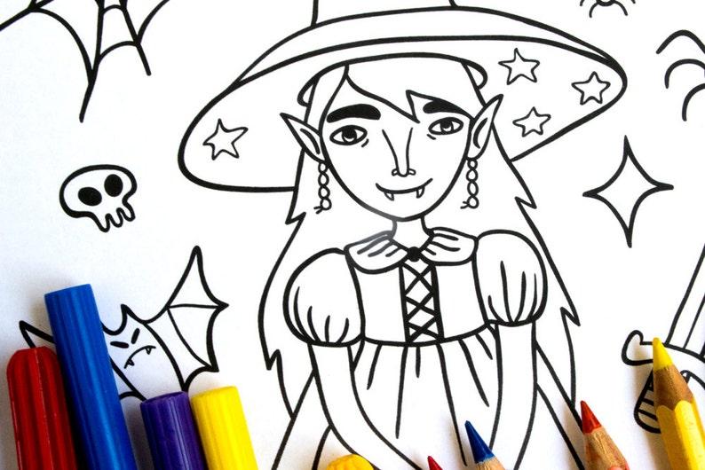Kleine Hexe Malvorlagen Malvorlagen Druckbare Halloween Etsy