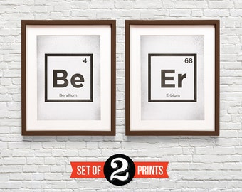 beer periodic elements 2 prints package funny quote print giclee archival print food